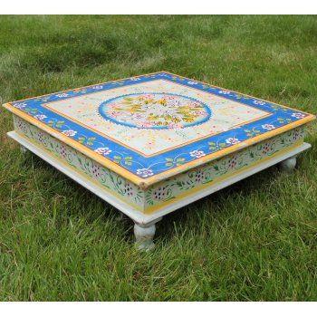 Boutique Camping Hand Painted Indian Bajot Table Blue Yellow - Boutique Camping from Boutique Camping UK