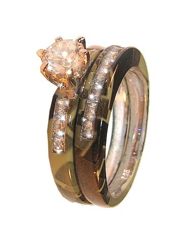Pink Camo Rings Camo 15 Stone Sterling Silver Wedding