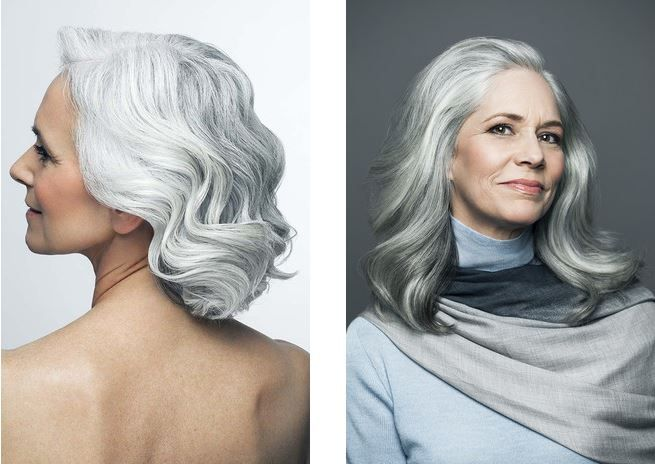 Мягкие седые волны визуально молодят и делают образ женственнее. Модные прически для седых волос