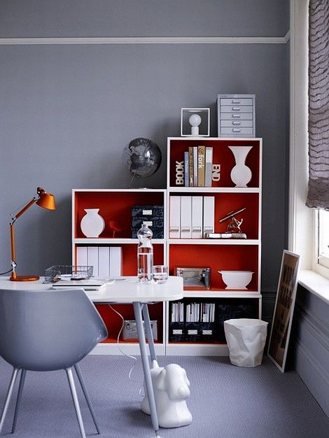 Home office decor ideas and styled painted bookcase good idea for different colors