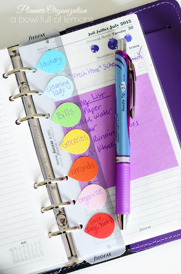 Planner organizing tips! Color really helps me, so this is great!!
