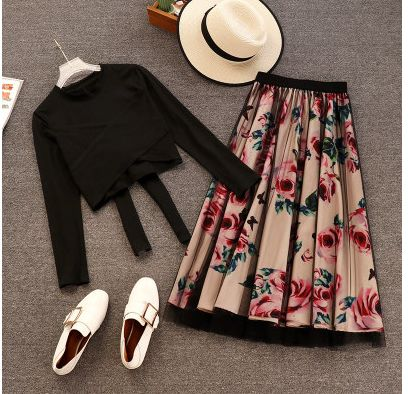 Chiffon Floral Skirt & Cropped Tee   Two-Piece Set