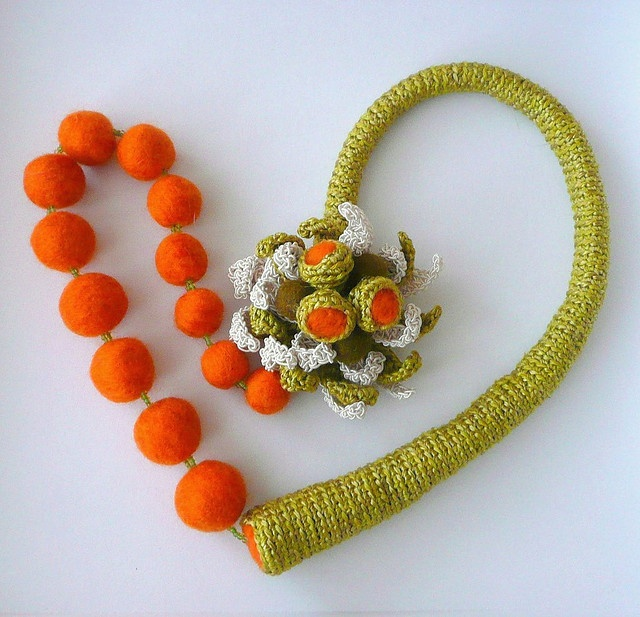 Olive & orange necklace - crocheted and felted by Astash