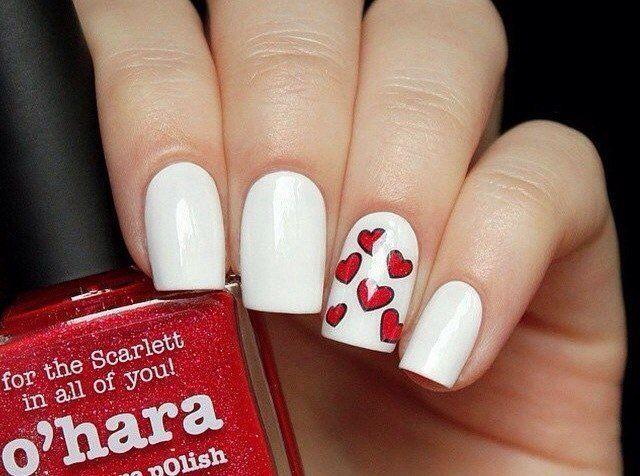 """Свадебный маникюр с рисунком """" сердца"""" на средние ногти; маникюр для невесты; белый и красный лак для ногтей; wedding manicure with a pattern; medium nails; heart;  brides manicure; white and red nail polish; nails art; nails design"""