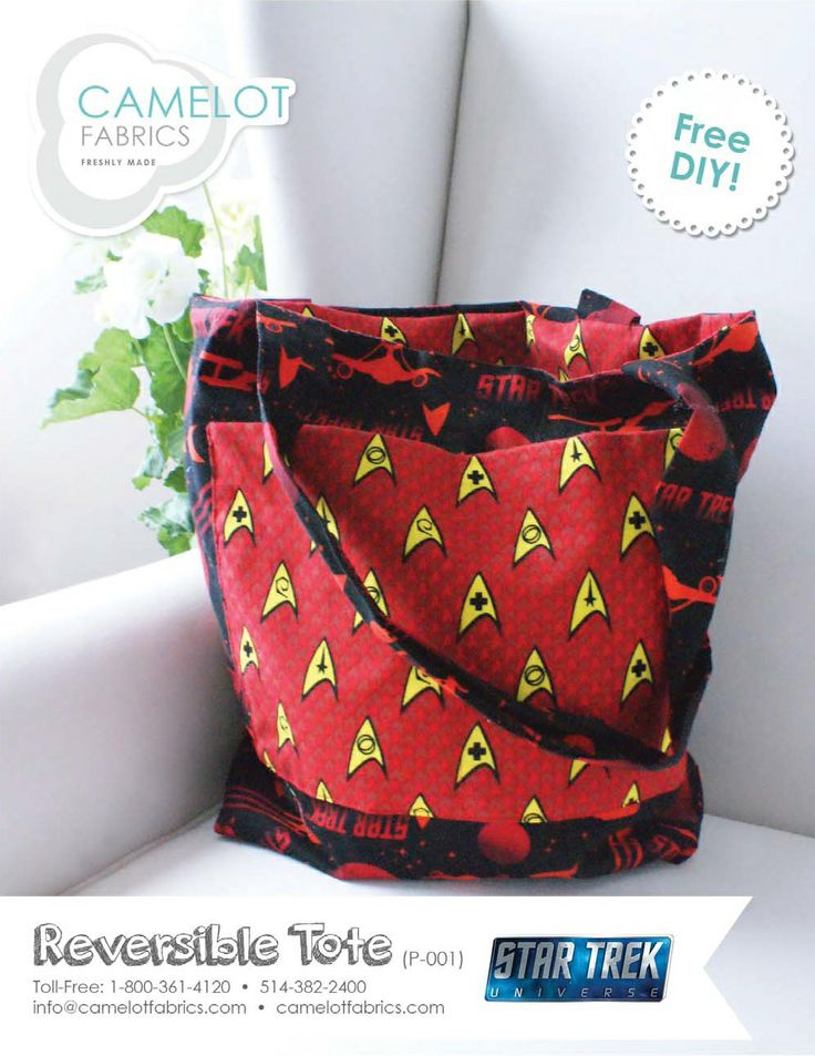 Free Projects | Reversible Tote Tutorial | Star Trek by Camelot Design Studio