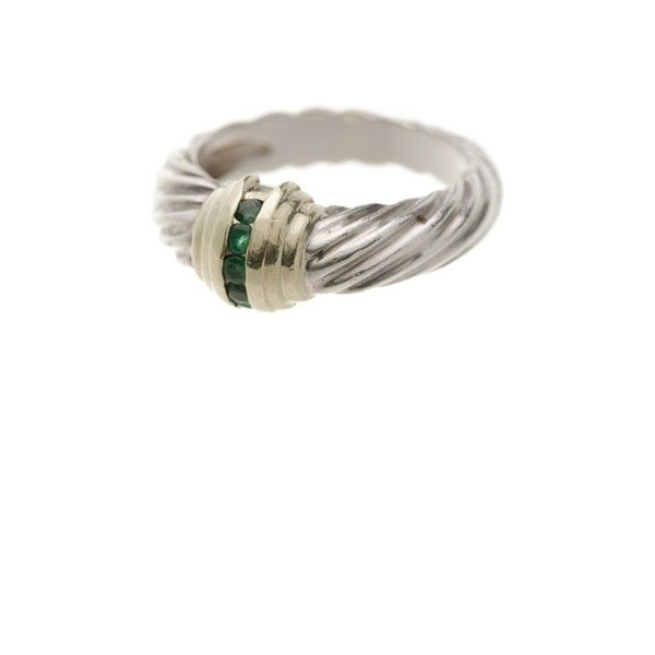 pre owned david yurman sterling silver 14k gold emerald