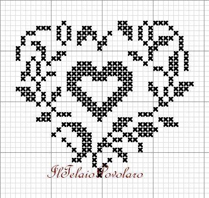 Valentine wreath cross stitch point de croix