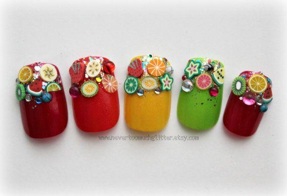 Fruity French. Fake Nails,Japanese Nail Art, Fruit, Rainbow, Kawaii, Food Fake Nail, Fruit Nail, False Nails, Acrylic Nails, 3d Fake Nail