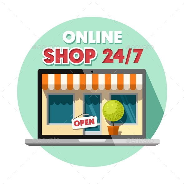 Online Shopping Concept Background banner and Flat style