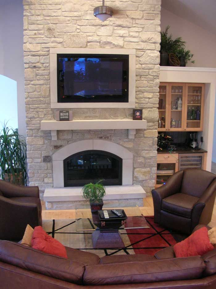Fireplaces Functional Fireplace Stone Faade Interior Exterior Home Remodeling Construction Companies New Homes St Louis Mo