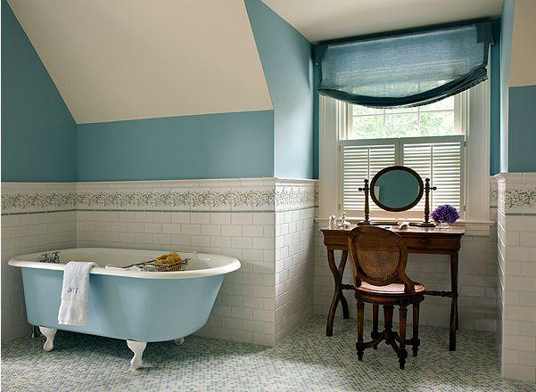 sky blue + warm wood + white #clawfoot #bathroom: Turquoise Blue, House Of Turquoise, Dreams Home, Turquoi Blue, Clawfoot Tubs, Bathroom Ideas, Bathroom Window, Blue Bathroom, House Decor
