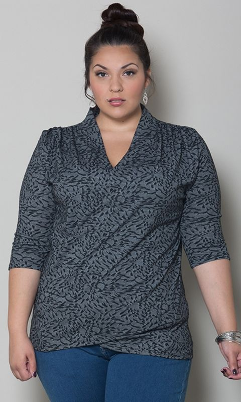 #plussize Camille Faux Wrap Top at Curvalicious Clothes #bbw #curvy