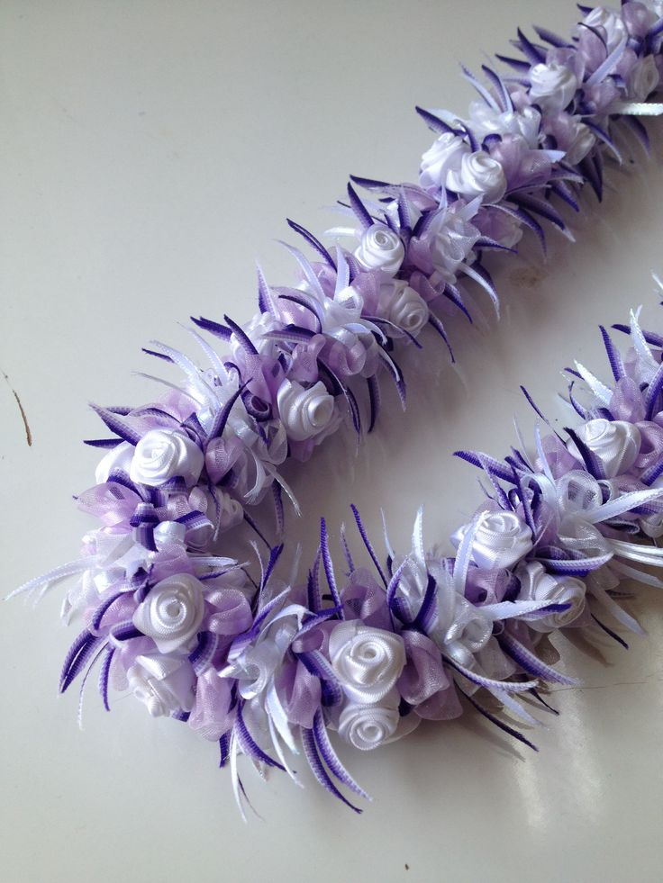 White Rose with Orchid (Ribbon lei) designed by Tr…