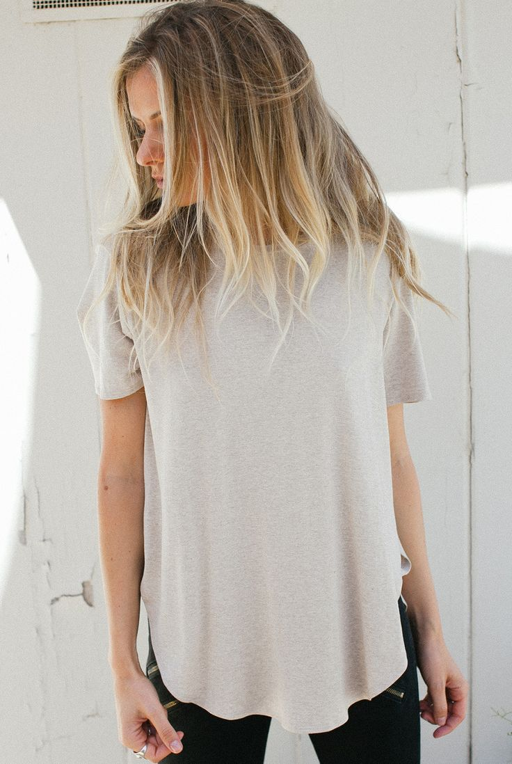 oatmeal, new color in the best selling joah brown slouchy tee. https://evolvefitwear.com