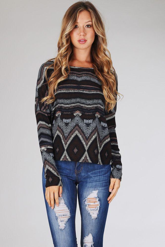 Black-Mocha-Blue-Abstract-Printed-Long-Sleeve-Top #pinkblush #cutewomensclothes #fallwomenstops #fashion #style