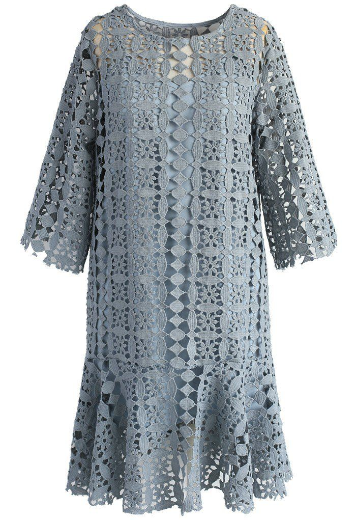 Crochet Perfection Shift Dress in Smoky Blue - New Arrivals - Retro, Indie and Unique Fashion