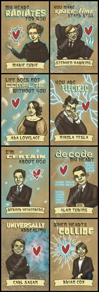 Love! Printable science Valentine's cards featuring Carl Sagan and Ada Lovelace