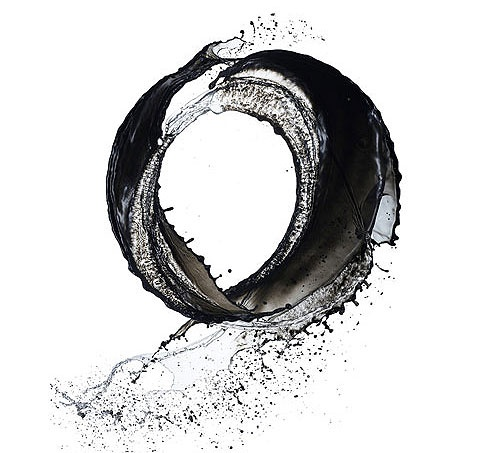black ink and water.