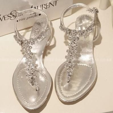 Wholesale Cheap Sandals - Buy New Arrival 2013 Rhinestone Bling Flat Sandals 35 - 40 Women's Flip-flop Flat Heel Sho, $30.1 | DHgate