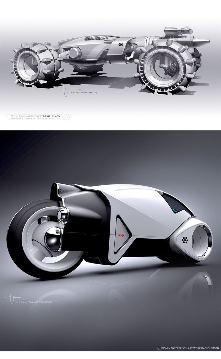 I stinking love this light bike  tron concept art from Daniel Simon