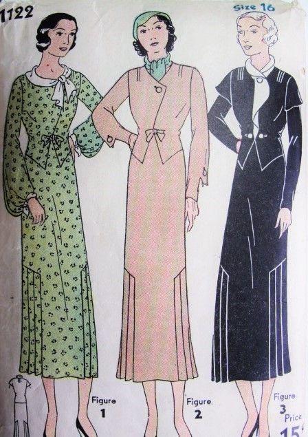 1930 Art Deco Dress Pattern Eenvoud 1122 Stunning Drie Stijlen Mooie Halslijnen en mouwen ontwerpen Bust 34 Uitstekende Naaiende Patroon