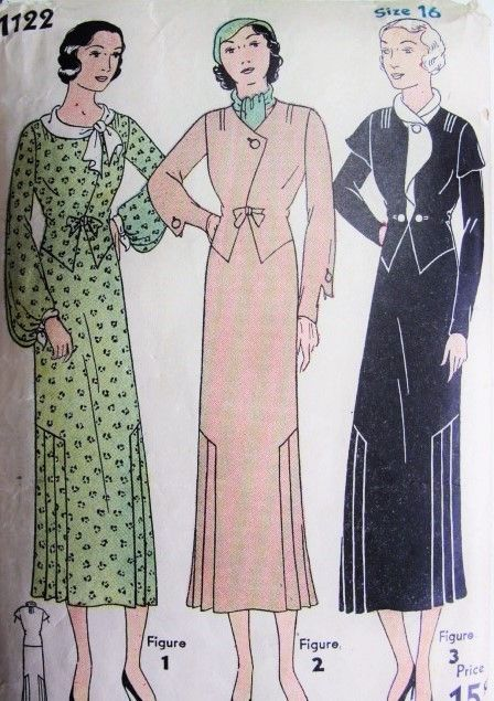1930s Art Deco Dress Pattern Simplicity 1122 Stunning Three Styles Beautiful Necklines and Sleeve Designs Bust 34 Vintage Sewing Pattern