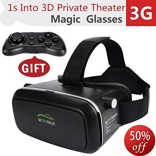 Motoraux 3D VR Virtual Reality Glasses Headset  Suitable for Google iPhone Samsung Note LG Huawei HTC Moto Smartphone (4.5-5.5 Inches)