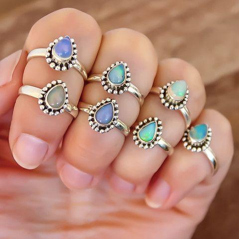 Ethiopian Opal Tear Drop Ring | Bohemian Gypsy Jewelry | Boho Festival Jewellery | Hippie Style Fashion| Indie and Harper