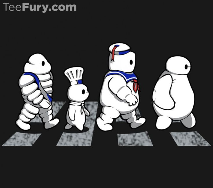 """""""White Puffy Road"""" by PrimePremne. Michelin Man, Pillsbury Doughboy, Stay Puft Marshmallow Man, and Baymax crossing Abbey Road. [Sold at TeeFury]"""