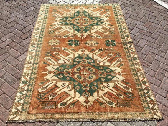 Vintage Hand Knotted Rug Area