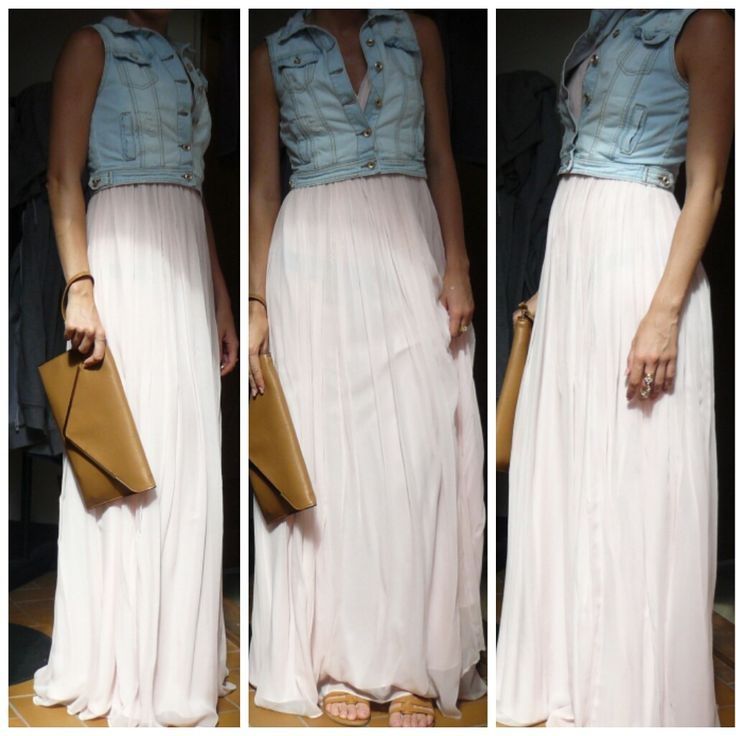 Denim Vest, Long Skirt, Maxi Skirt