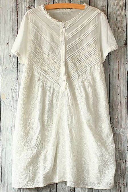 Zig Zag Lace Splicing Short Sleeve Dress WHITE: Dresses 2015 | ZAFUL