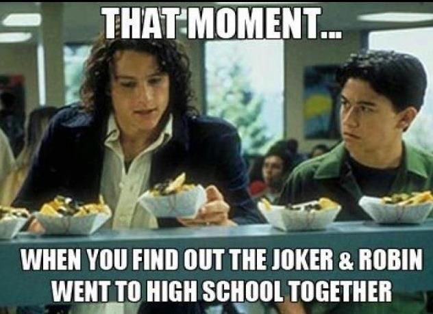 "maybe there's a back story - robin and joker were bff's .. then BATMAN came along and was all like ""let's be BFF's, Robin.."" and then .. the Joker happened!~  There ya go."