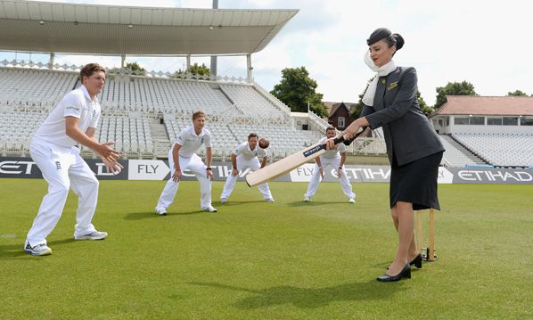 England and Wales Cricket Board links with Etihad Airways 3rd Jul 2014.Etihad Airways and the England and Wales Cricket Board today announced a three-year partnership deal which will see the carrier become the first ever official airline partner of the England Cricket Teams.