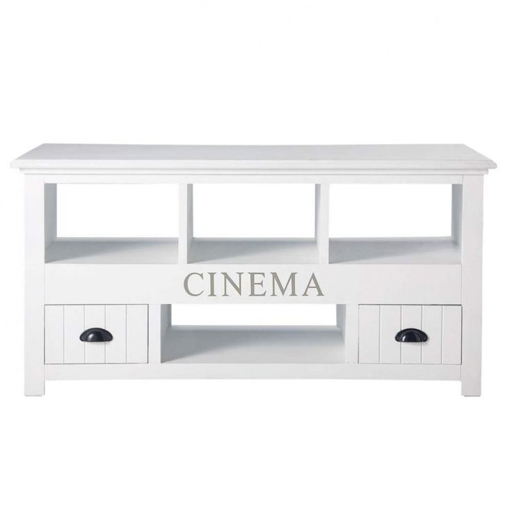 Porta-TV bianco in legno L 120 cm