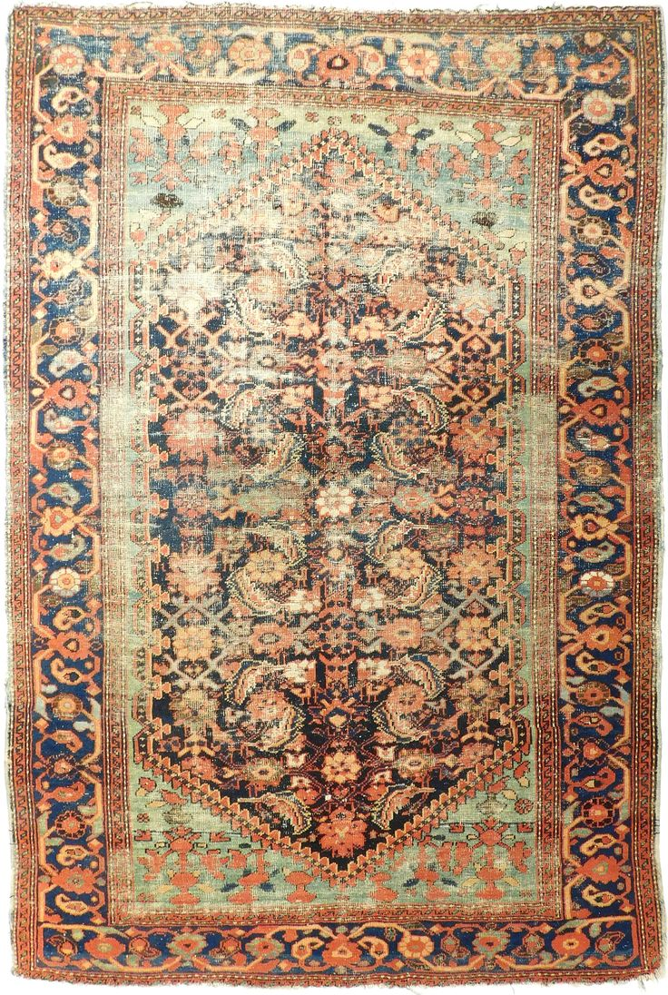 "NLR 627. Distressed antique Persian rug. 4'1""x 6'6"" by NasserLuxuryRugs on Etsy"