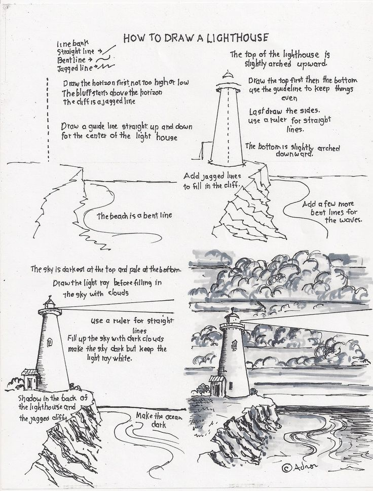 How to draw a lighthouse (http://drawinglessonsfortheyoungartist.blogspot.com/2011/09/how-to-draw-lighthouse.html)