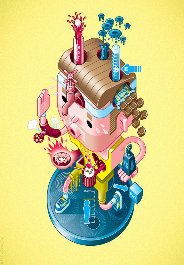 I'm liking these isometric/CRAZY illustrations by Lee Hasler. There are lots of sweet details to see.