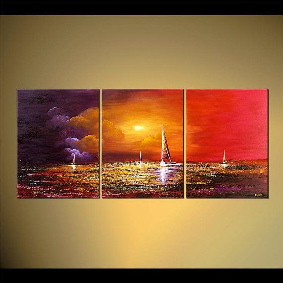 """Contemporary Seascape Painting Original Textured Abstract Acrylic Sailboats Art by Osnat - MADE-TO-ORDER - 54""""x24"""""""