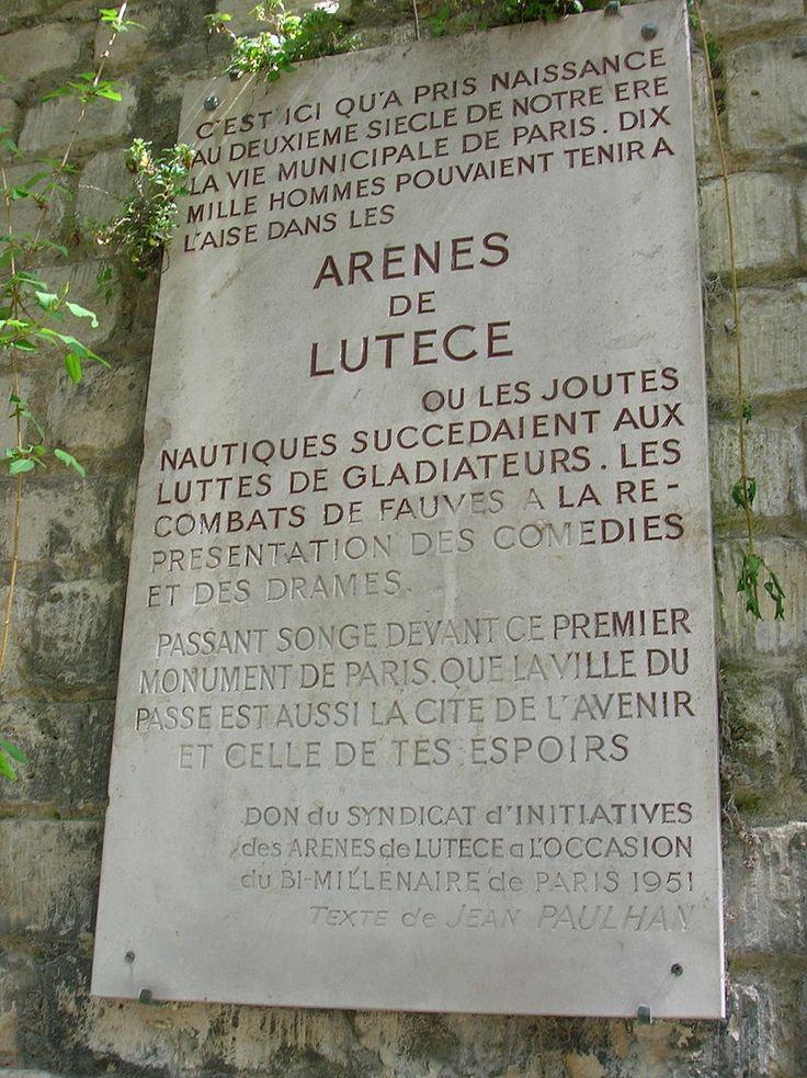 Plaque des Arenes de Lutece - Arènes de Lutèce — Wikipédia