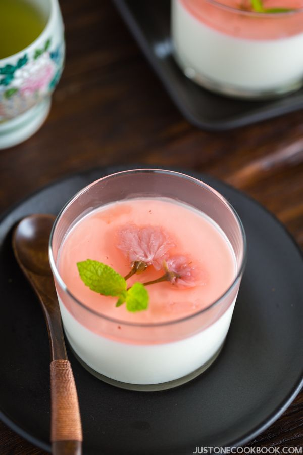 Cherry Blossom Milk Pudding | Easy Japanese Recipes at JustOneCookbook.com