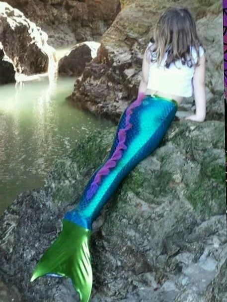 UK SWIMMABLE ADULT CHILDRENS FISH SCALE MERMAID TAIL COSTUME HANDMADE MONOFIN