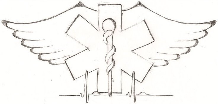 Tattoo design for customer. EMT, angel wings, sinus pulse.  ginaleecincotta@gmail.com