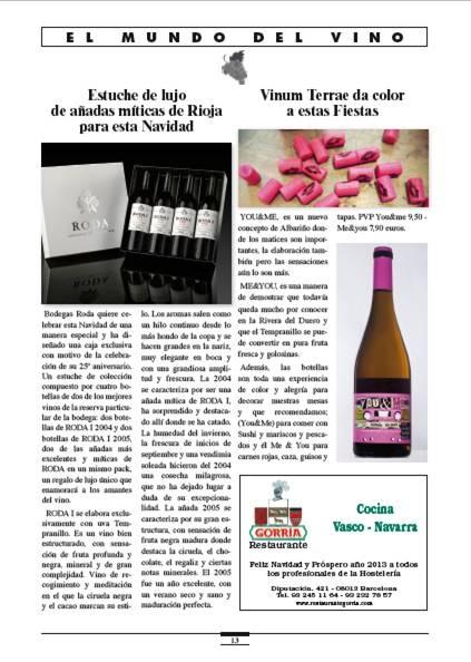 Vinum Terrae da color a estas fiestas es el reportaje que dedican al albariño You & Me Let's Go! en la revista Catalunya Gastronomica. Ya lo véis, pintando las fiestas de color de rosa :)