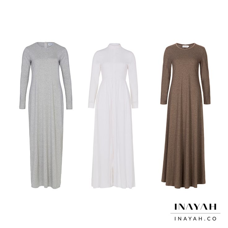 Summer Abayas in breathable cotton blends. What's your favourite style? 1, 2 or 3? Comment below! All items available in multiple colours and lengths. 20% off all items in our Ramadan Flash Sale. Long Grey #Maxi Dress + White Cotton #Maxi #Shirt #Abaya + Mink #Abaya with #Flare www.inayah.co