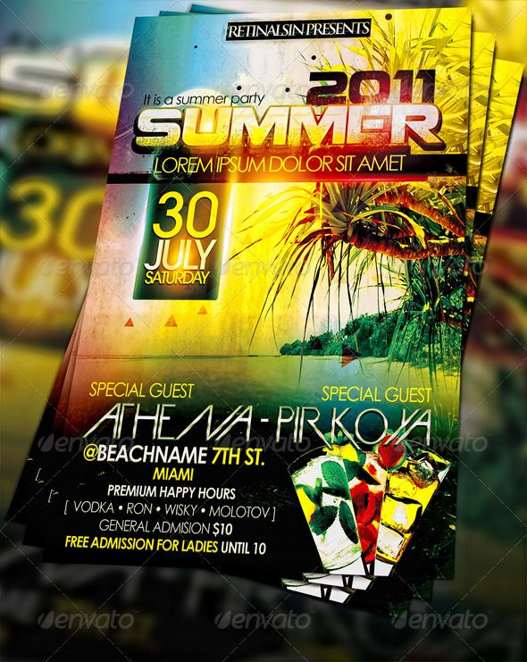 #Summer Party #Flyer - Clubs & Parties Events Download here: https://graphicriver.net/item/summer-party-flyer/229467?ref=alena994