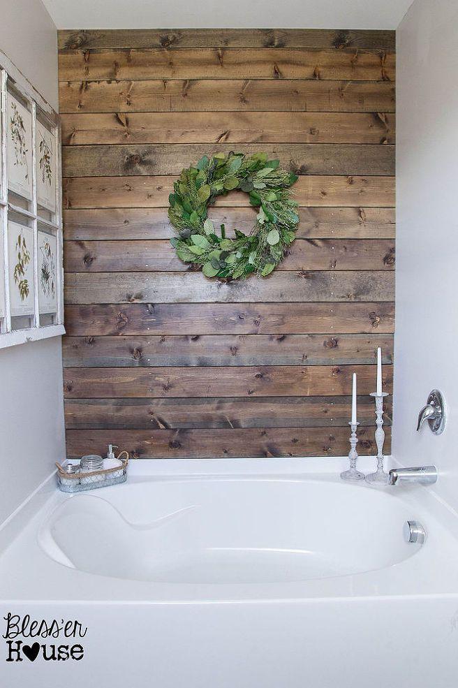 DIY Rustic Bathroom Plank Wall :: Hometalk