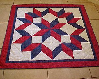 Traditional Quilt CARPENTER's STAR, Patriotic Red, White and Blue.  FREE shipping in the United Sates