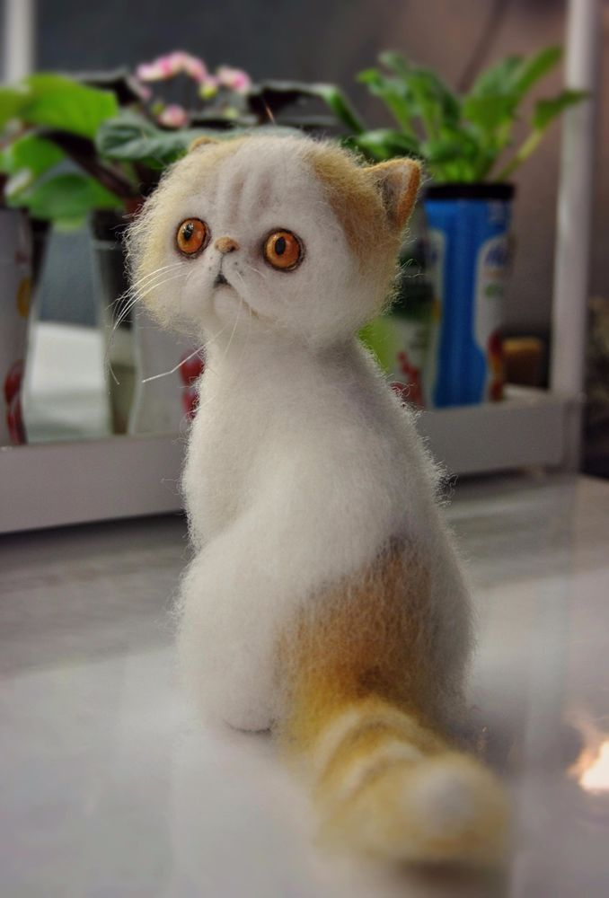 Ooak, Cute Cat Sammy, wool sculpture, needle felted, handmade #AllOccasion