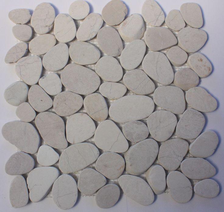 Sliced white pebble mosaic tile